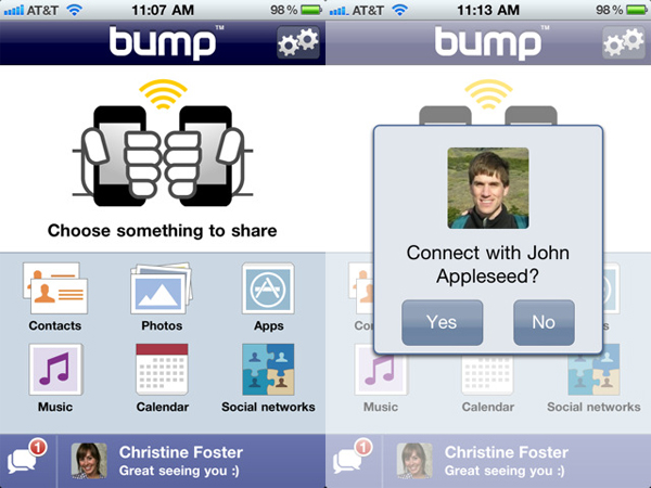 Bump, choca y comparte archivos desde tu dispositivo iPod touch, iPad, iPhone y Android