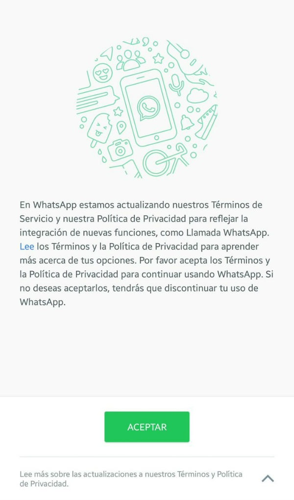 WhatsApp condiciones
