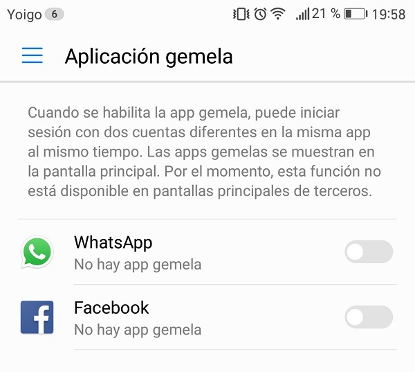 Huawei Mate 9 con apps dobles de WhatsApp y Facebook