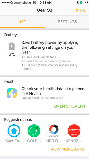 samsung gear compatibles iphone app salud