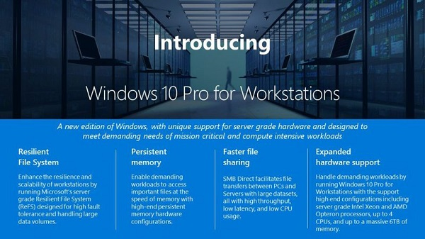 Microsoft Introduces Windows 10 Pro Workstations