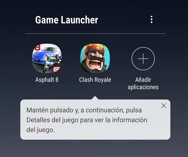 Game Launcher en Note 8