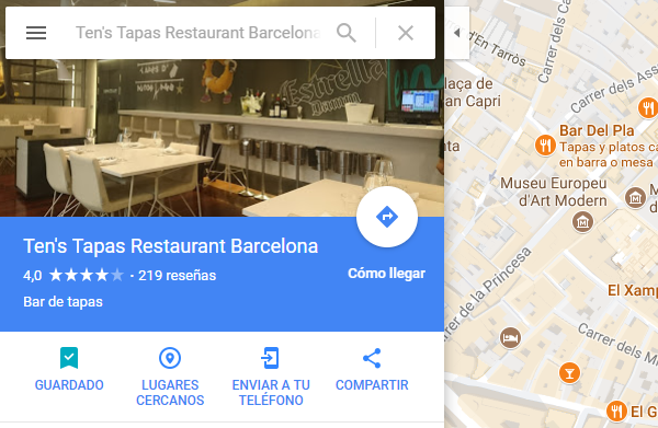 guardar lugares google maps lista