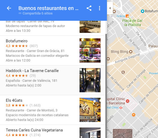 lista compartida google maps
