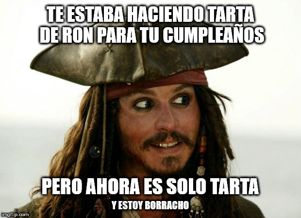 meme tarta de ron Jack Sparrow WhatsApp Facebook cumple
