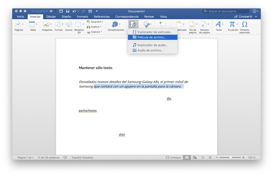 video microsoft word